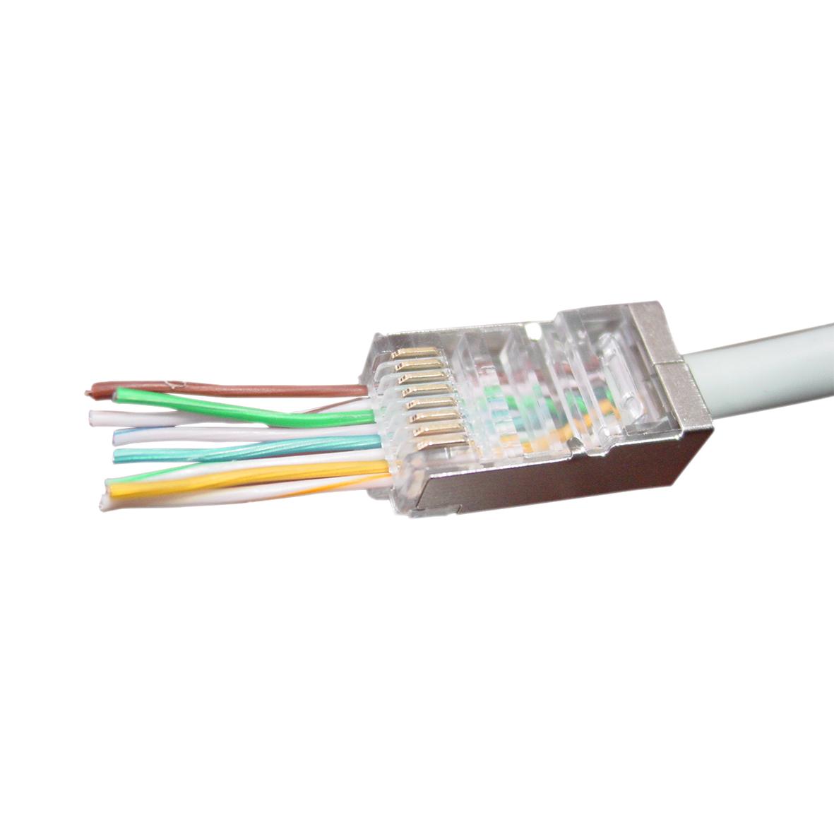 Modulaire FTP RJ45 stekker met doorsteekmontage, 100 stuks per zakje